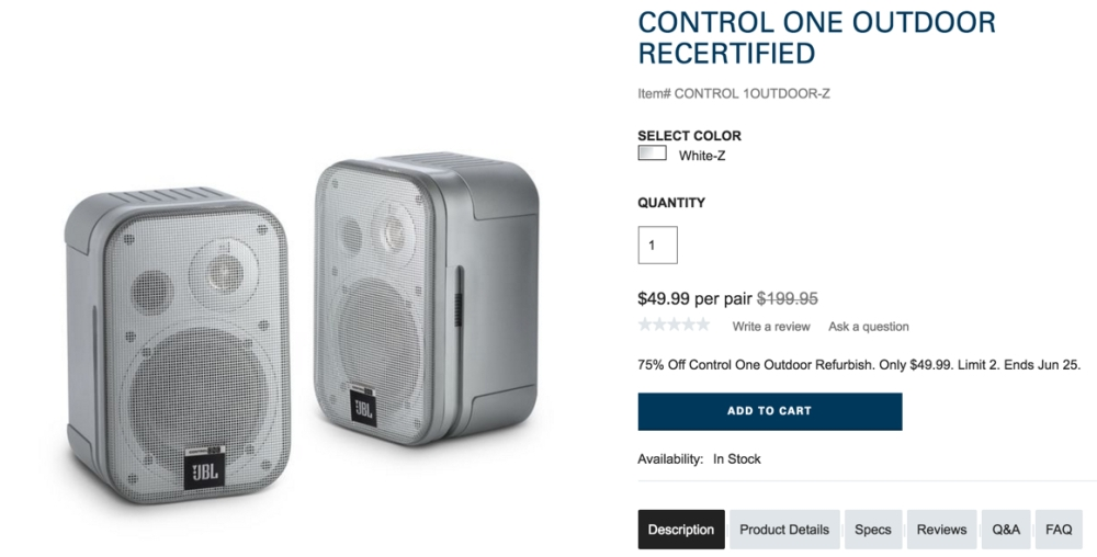 JBL Conrol one speakers