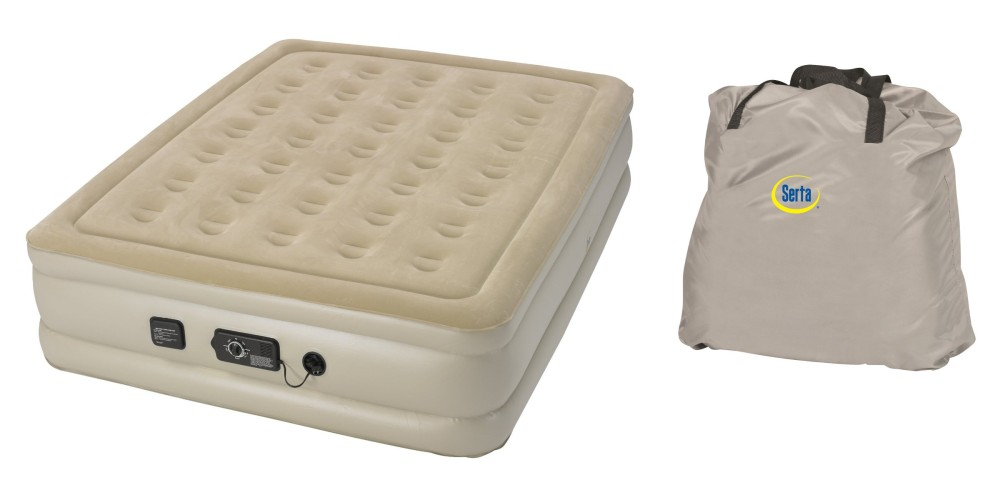 Queen-sized Serta Raised Air Mattress with Never Flat Pump