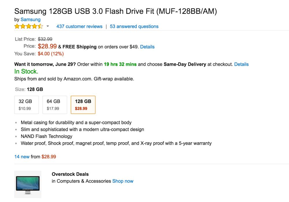 Samsung 128GB USB 3.0 Flash Drive Fit-5