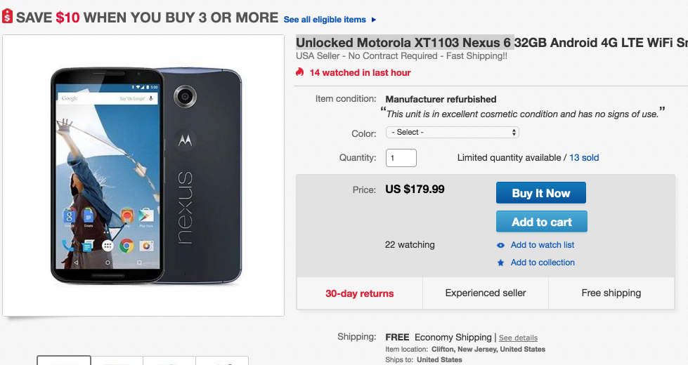 Unlocked Motorola XT1103 Nexus 6 32GB Android 4G LTE WiFi Smartphone | eBay 2016-06-15 11-48-33