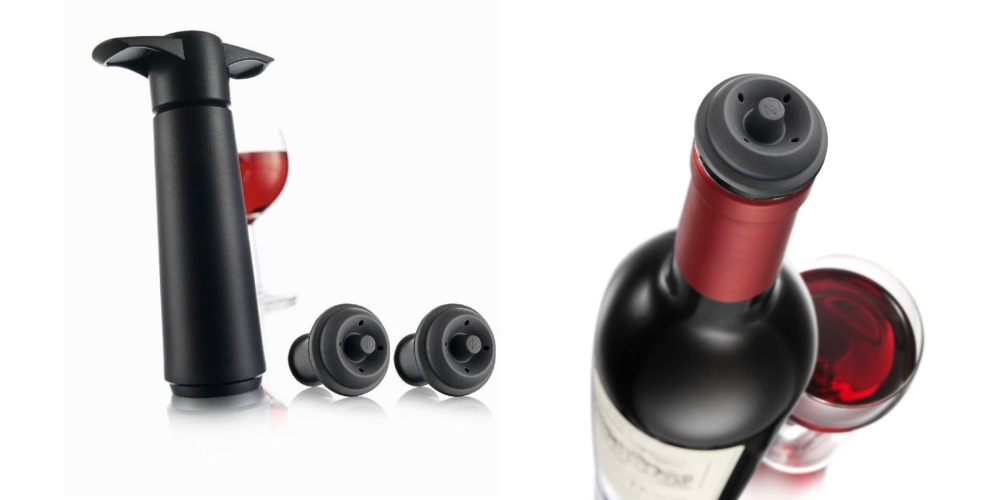 Vacu Vin Wine Saver Pump with 2 x Vacuum Bottle Stoppers - Black-2