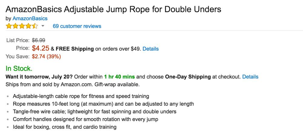AmazonBasics Adjustable Jump Rope-5