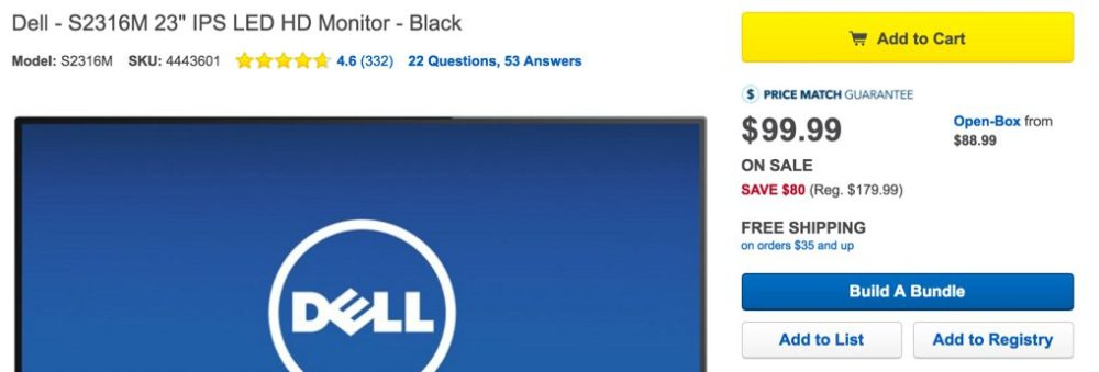 Dell monitor at Best Buy