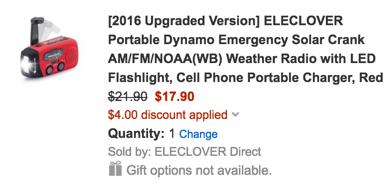 Emergency Solar Crank AM:FM:NOAA(Weather Radio