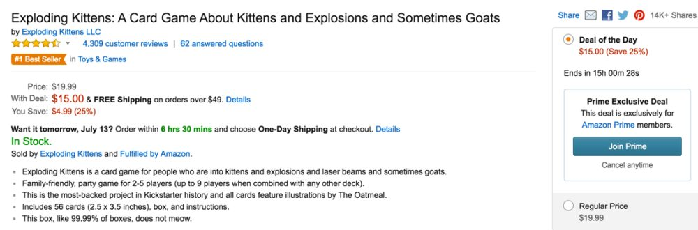 Exploding Kittens sale