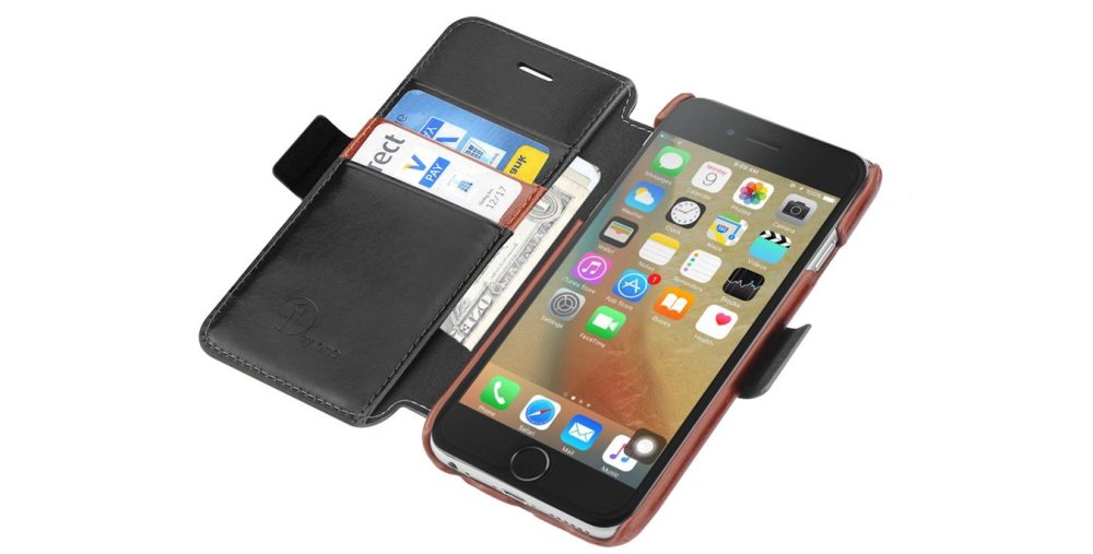 Genuine Leather Wallet Stand Folio Case for iPhone 6:s
