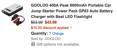 GOOLOO 400A Peak 8000mAh Portable Car Jump Starter Power Pack GP03 Auto Battery Charger with Best LED Flashlight