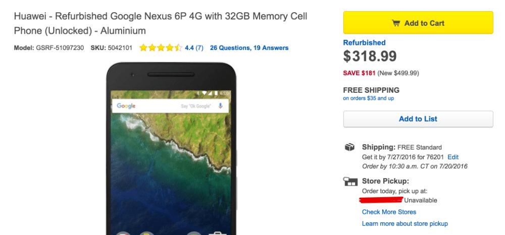 Huawei Refurbished Google Nexus 6P 4G with 32GB Memory Cell Phone (Unlocked) Silver GSRF-51097230 - Best Buy 2016-07-19 12-00-50