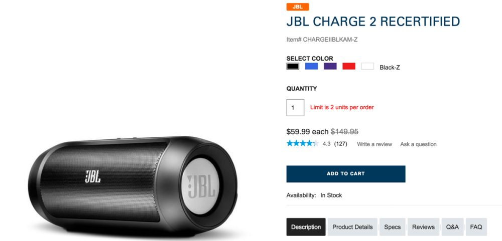 JBL CHARGE 2 RECERTIFIED