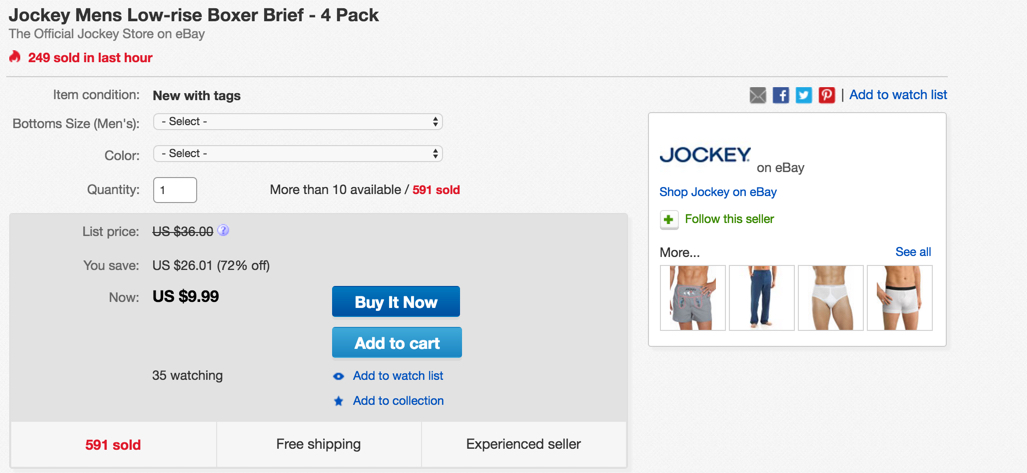 Jockey 4-pack of boxers