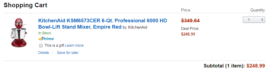 Amazon offers the Professional 6-qt KitchenAid Stand Mixer at