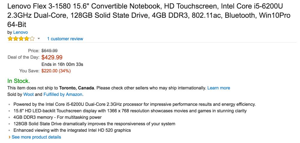 Lenovo Flex 3 15.6%22 Convertible Notebook 2.3GHz:128GB:4GB-3