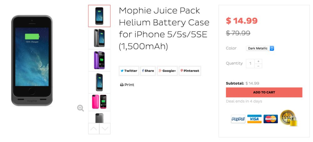 Mophie Juice Pack Helium Battery Case for iPhone 5:5s