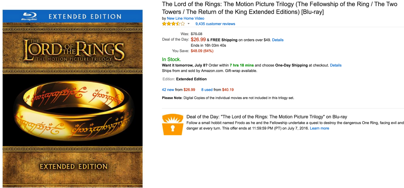 Own the Lord of the Ring Trilogy (Extended Editions) on Blu