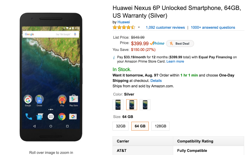 Amazon.com: Huawei Nexus 6P Unlocked Smartphone, 64GB, US Warranty (Silver): Cell Phones & Accessories 2016-08-08 11-13-18