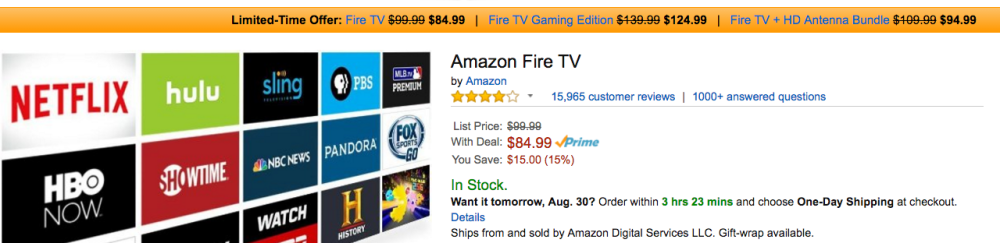 amazon fire tv sale