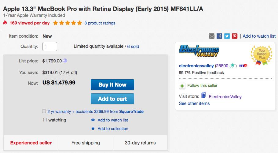 apple macbook ebay deal