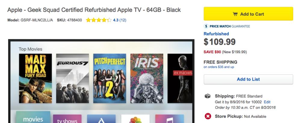 apple tv 64gb best buy refurb