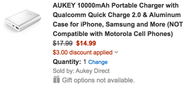 Aukey power bank with QC