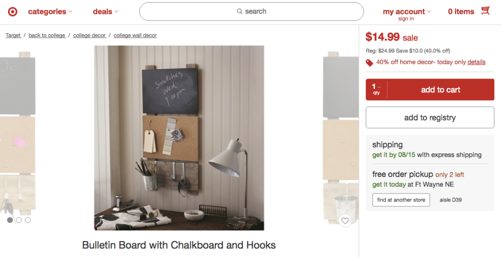Bulletin Board with Chalkboard and Hooks-12