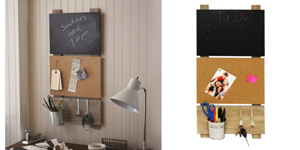 Bulletin Board with Chalkboard and Hooks-5