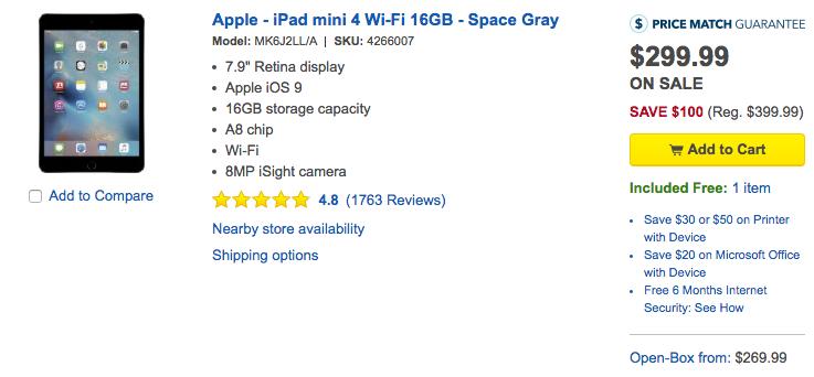 ipad mini 4 best buy deal