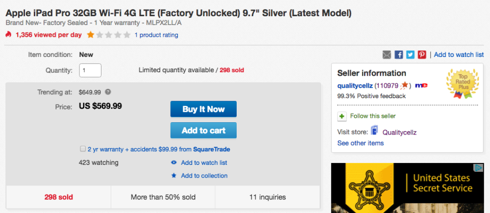 ipad pro cellular ebay deal
