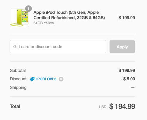 ipod touch code yellow
