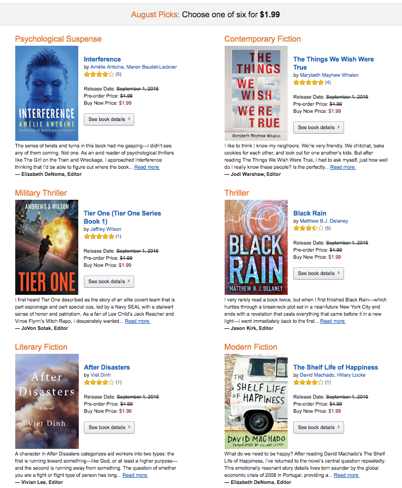kindle first august picks