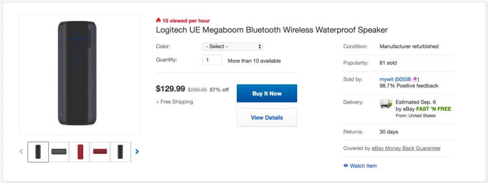 Logitech UE Megaboom Bluetooth Waterproof Speaker