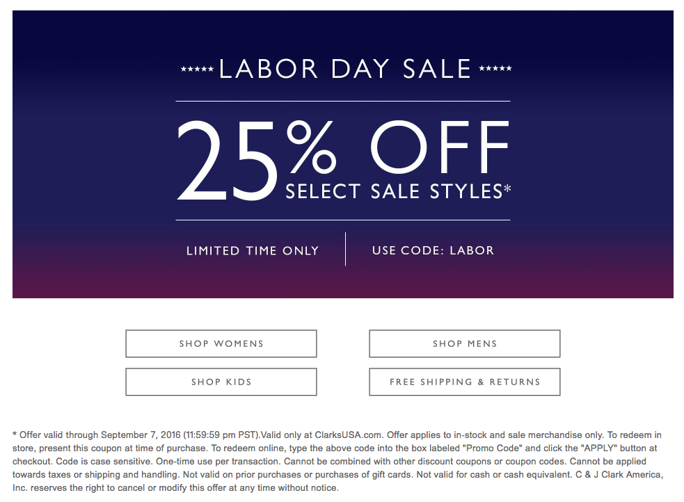 clarks labor day sale