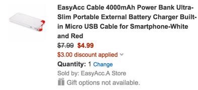 EasyAcc Cable 4000mAh Power Bank Ultra-Slim External Battery