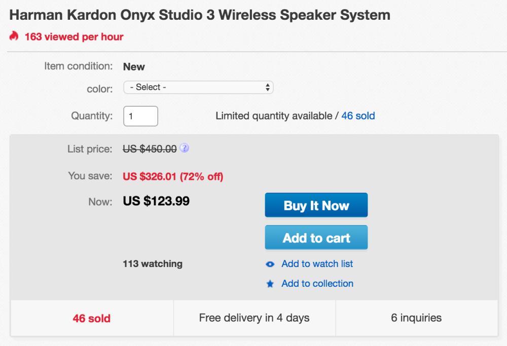 Harman Kardon Onyx Studio 3 Bluetooth Speaker w/ hands-free