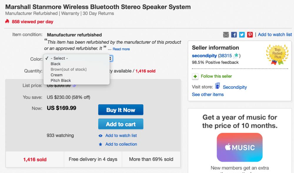 marshall-stanmore-bluetooth-speaker-ebay-deal