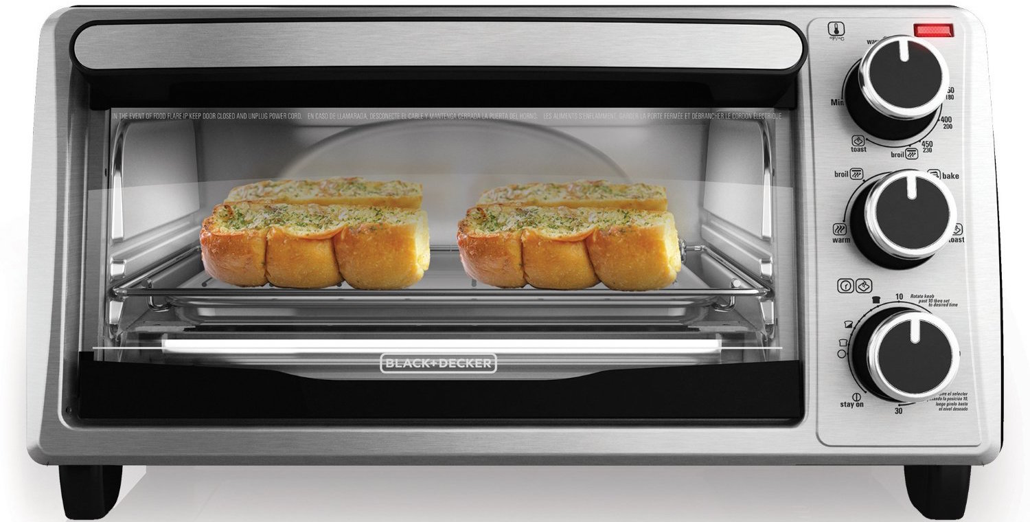 black-decker-4-slice-toaster-oven-in-stainless-steelblack-to1303sb
