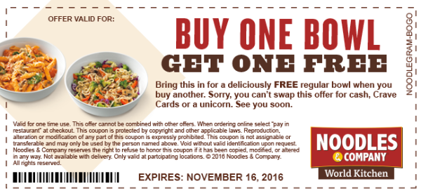image about Noodles and Company Printable Coupons known as Heres how in direction of purchase a coupon very good for a Noodles Enterprise BOGO