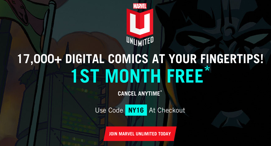 get one free month of more comics than you can handle from marvel