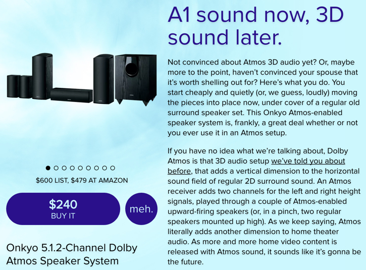 Grab the Onkyo 5 1 2-Ch  Dolby Atmos Speaker System for $245 shipped