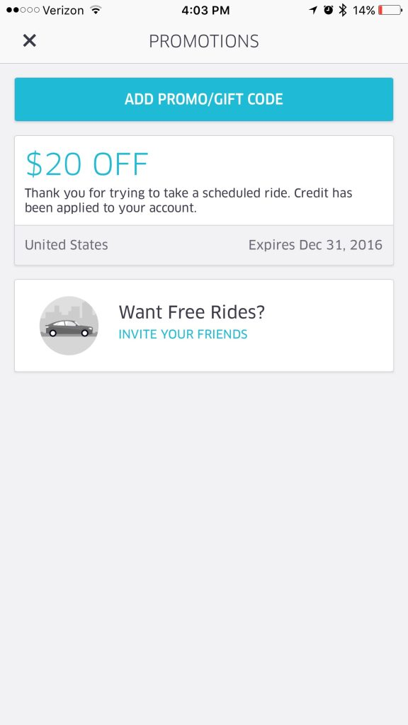 Add this code to your Uber account and save $20 on your next ride