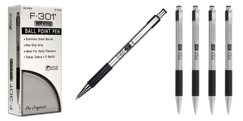 zebra-f-301-stainless-steel-retractable-ballpoint-pens-0-7mm-black-27110-7
