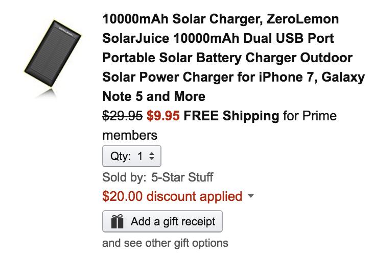 zerolemon-solar-amazon-deal
