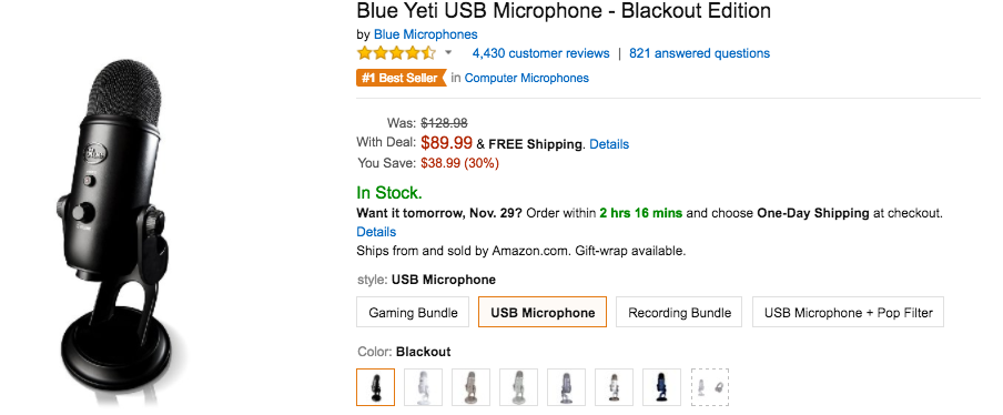 amazon cyber monday sale slashes prices on a bunch of blue usb mics yeti 90 reg 130. Black Bedroom Furniture Sets. Home Design Ideas