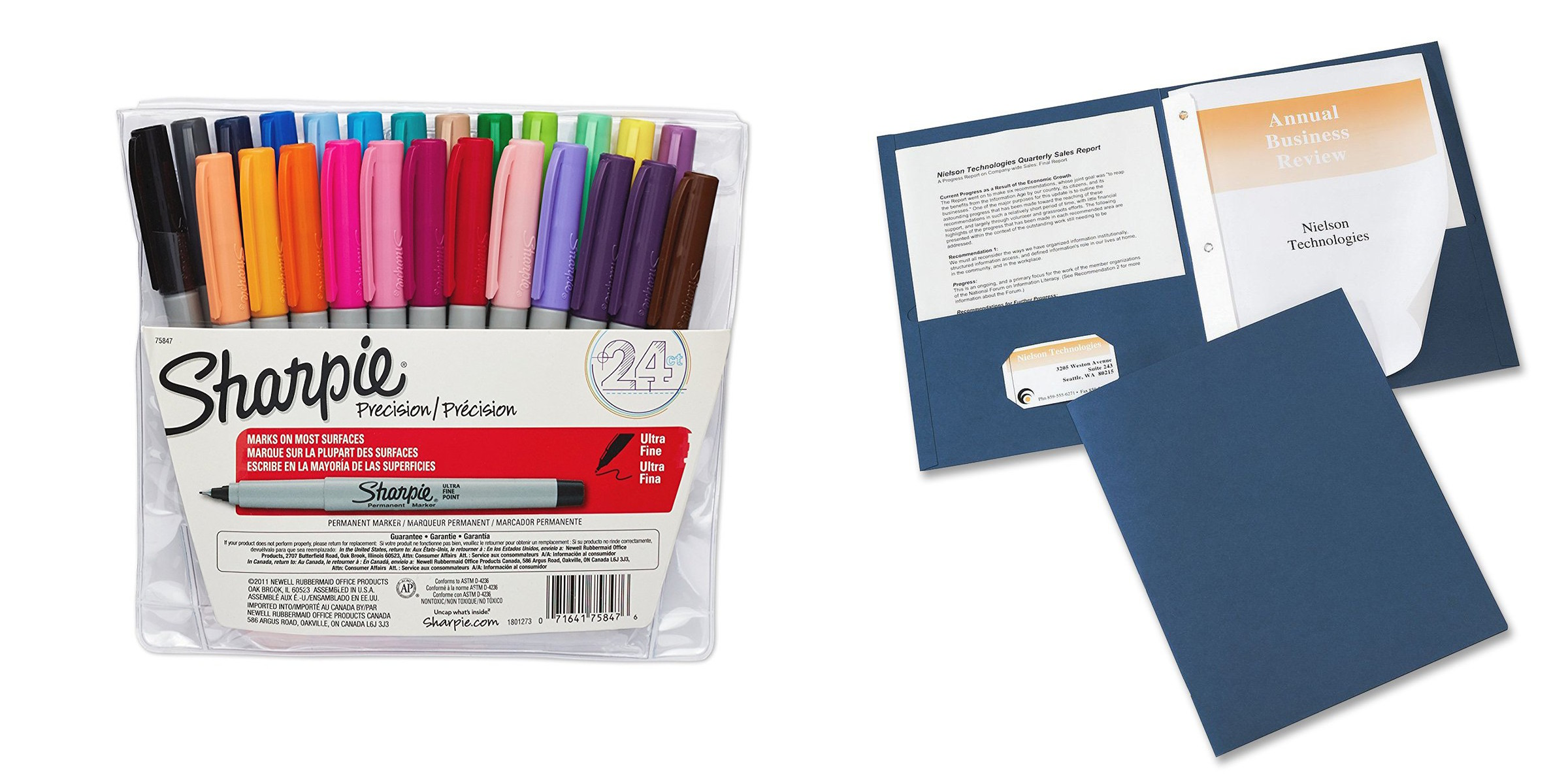Incroyable Office Supplies: 24 Pack Of Sharpie Permanent Markers (Assorted Colors) $9,  25 Pack Pocket Polders $6, More   9to5Toys