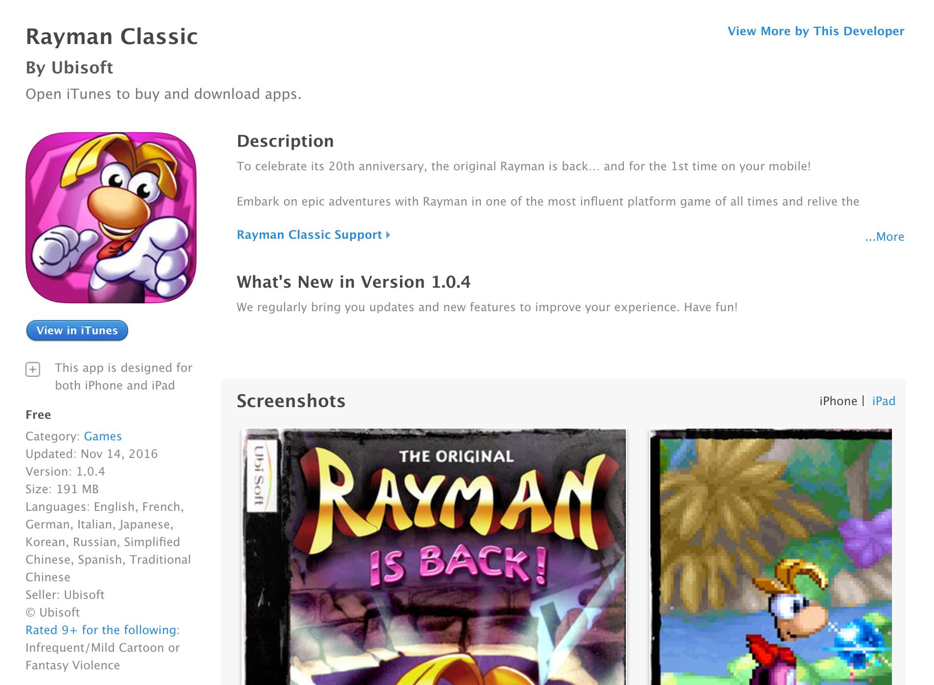 rayman-classic-free-ios