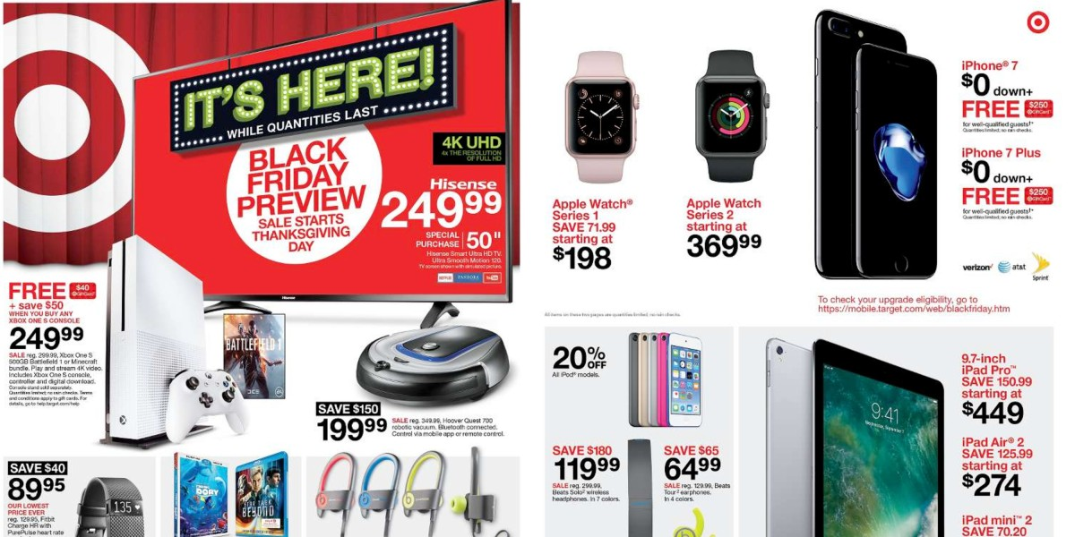 Target Black Friday 2016 Ipad Pro 150 Off Iphone 7 250 Gc Xbox One 40 Gc Itunes Beats Headphones Much More 9to5toys