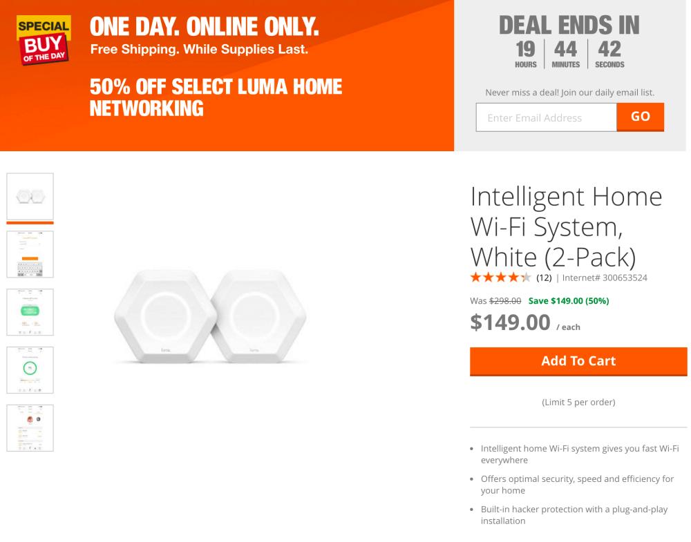 luma-networking-home-depot-deal