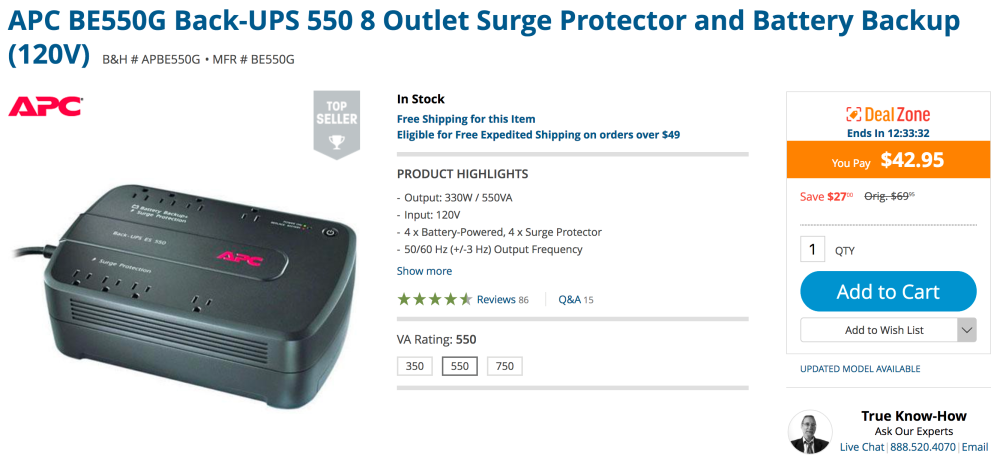 apc-be550g-back-ups-550-8-outlet-surge-protector-and-battery-backup-120v