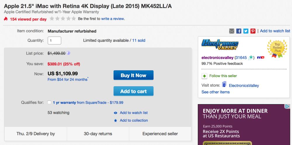 imac-refurb-4k-retina-ebay-deal