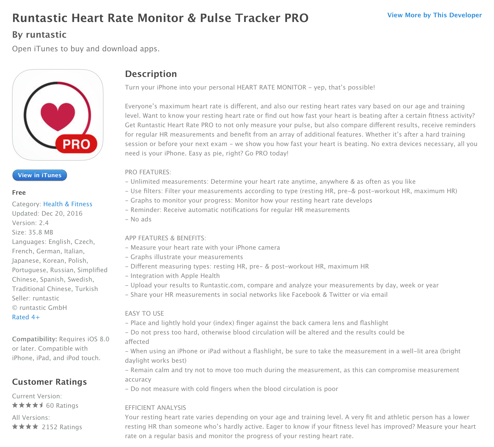 Runtastic's Heart Rate Monitor & Pulse Tracker PRO on iOS is