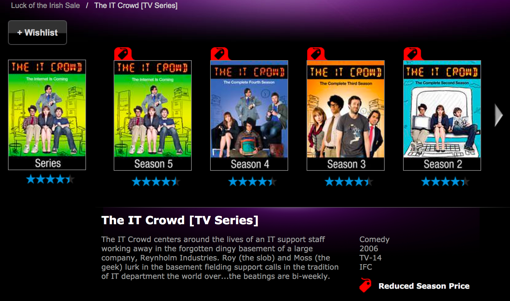 VUDU is offering 50% off select movies and TV shows: The IT Crowd